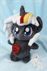 Size: 1000x1500 | Tagged: safe, artist:nakedskull, oc, oc only, oc:velvet remedy, pony, unicorn, fallout equestria, chibi, fanfic, fanfic art, female, hooves, horn, irl, mare, photo, plushie, solo