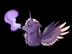 Size: 4000x3000 | Tagged: safe, artist:venommocity, oc, oc only, oc:cassiopeia, alicorn, pony, black background, female, magical lesbian spawn, mare, offspring, parent:tempest shadow, parent:twilight sparkle, parents:tempestlight, simple background, smoke, solo