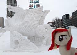 Size: 2048x1480 | Tagged: safe, artist:hihin1993, oc, oc only, oc:poniko, pegasus, craft, japan, plushie, sculpture, snow