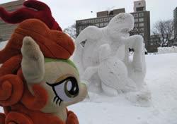 Size: 2054x1442 | Tagged: safe, artist:hihin1993, autumn blaze, oc, oc:poniko, turtle, craft, japan, plushie, sculpture, snow