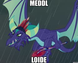 Size: 887x717 | Tagged: safe, edit, edited screencap, screencap, gaius (dragon), dragon, the hearth's warming club, bloodstone scepter, caption, cropped, drachenlord, dragon lord, german, image macro, impact font, meme, metal, rain, text