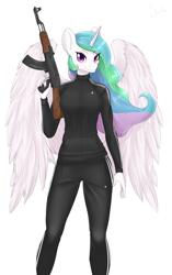 Size: 3141x5000 | Tagged: safe, artist:shadikbitardik, princess celestia, anthro, adidas, ak-47, assault rifle, cheeki breeki, commission, gun, rifle, solo, weapon