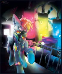 Size: 1280x1536 | Tagged: safe, artist:levidoesthethings, rainbow dash, pegasus, pony, fanfic:rainbow factory, female, folded wings, mare, mask, rainbow factory dash, raised hoof, solo, spectra, walking, wings