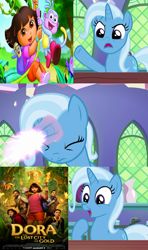 Size: 640x1080 | Tagged: safe, artist:mega-poneo, trixie, all bottled up, dora and the lost city of gold, dora the explorer, meme