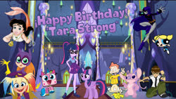 Size: 1920x1080 | Tagged: safe, sci-twi, twilight sparkle, alicorn, pony, equestria girls, angel (lilo and stitch), batgirl, ben 10, ben tennyson, bubbles (powerpuff girls), dil pickles, happy birthday, harley quinn, human ponidox, princess melody, raven (teen titans), self ponidox, tara strong, twilight sparkle (alicorn), twilight's castle, twolight, unikitty, unikitty! (tv series), voice actor joke