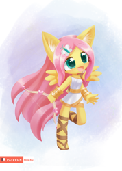 Size: 1000x1407   Tagged: safe, artist:howxu, fluttershy, anthro, bow (weapon), clothes, cupid, cute, ear fluff, female, floating wings, open mouth, shyabetes, solo, toga, wings