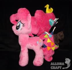 Size: 3015x2919 | Tagged: safe, artist:allunacraft, pinkie pie, earth pony, pony, the last problem, spoiler:s09e26, black background, female, irl, older, older pinkie pie, photo, plushie, simple background, solo