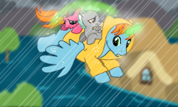 Size: 512x308 | Tagged: safe, oc, oc only, oc:harmony star, alicorn, alicorn oc, foal, rain, raincoat