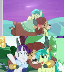 Size: 1280x1440 | Tagged: safe, screencap, rarity, sandbar, yona, earth pony, pony, unicorn, yak, she's all yak, the last problem, spoiler:s09e07, spoiler:s09e26, best friends, bow, carousel boutique, cloven hooves, female, friendship, hair bow, hearts and hooves day, holiday, hug, implied shipping, implied yonabar, male, mare, monkey swings, older, older rarity, older sandbar, older yona, shooting star, stallion, the magic of friendship grows, then and now, treehouse of harmony, valentine's day