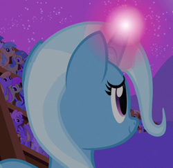 Size: 624x604 | Tagged: safe, screencap, apple cider (character), apple cobbler, cloud kicker, lemon hearts, lightning bolt, merry may, minuette, rainbowshine, sunshower raindrops, trixie, white lightning, pegasus, pony, unicorn, magic duel, apple family member, background pony, cropped, female, mare, solo focus
