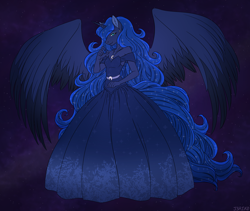 Size: 1600x1350 | Tagged: safe, artist:j3r1k0, derpibooru exclusive, princess luna, alicorn, anthro, clothes, colored wings, dress, ear piercing, ethereal mane, female, gown, jewelry, long hair, long tail, looking at you, mare, necklace, piercing, smiling, solo, space, starry mane, wings