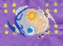 Size: 1024x753 | Tagged: safe, artist:malte279, princess celestia, princess luna, alicorn, craft, felt, moon, needle felted, plushie, royal sisters, stars, stylized, sun, ying yang