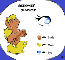 Size: 1144x1054 | Tagged: safe, artist:lucas_gaxiola, oc, oc only, oc:sunshine glimmer, earth pony, pony, arm behind head, armpits, eye, eyes closed, female, mare, reference sheet, sitting, solo, underhoof