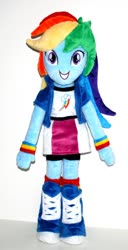 Size: 570x1116 | Tagged: safe, rainbow dash, equestria girls, female, irl, looking at you, photo, picture, plushie, smiling, solo, standing