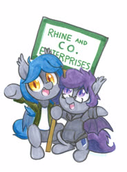 Size: 2145x2910 | Tagged: safe, artist:dawnfire, oc, oc only, oc:dusk rhine, oc:racket rhine, bat pony, brother and sister, clothes, cute, cute little fangs, duo, fangs, female, glasses, hoodie, looking at you, male, merchant, open mouth, purple eyes, rule 63, siblings, sign, simple background, smiling, spread wings, traditional art, white background, wings, yellow eyes