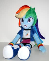 Size: 794x990 | Tagged: safe, rainbow dash, equestria girls, female, irl, looking at you, photo, picture, plushie, sitting, smiling, solo