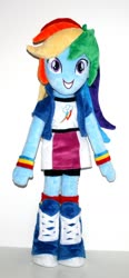 Size: 794x1712 | Tagged: safe, rainbow dash, equestria girls, female, irl, photo, picture, plushie, smiling, solo, standing