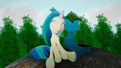 Size: 3840x2160 | Tagged: safe, artist:agkandphotomaker2000, dj pon-3, vinyl scratch, oc, oc:pony video maker, pony, 3d, 3d mixed with drawing, canon x oc, forest, rock, sitting, source filmmaker, tree, videoscratch