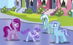 Size: 1280x789 | Tagged: safe, artist:tenderrain46, oc, oc only, oc:cinder star, oc:eye gleam, oc:stone tad, oc:tender rain, earth pony, pony, unicorn, crystal empire, female, male, mare, stallion