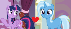 Size: 1954x812 | Tagged: safe, trixie, twilight sparkle, alicorn, fame and misfortune, student counsel, spoiler:s09e11, female, lesbian, shipping, shipping domino, twilight sparkle (alicorn), twixie