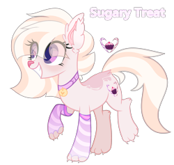 Size: 2539x2409 | Tagged: safe, artist:bublebee123, oc, oc only, oc:sugary treat, cat, cat pony, hybrid, original species, pony, claws, clothes, collar, female, grin, mare, markings, paws, raised hoof, raised leg, simple background, smiling, socks, solo, striped socks, transparent background