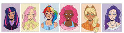 Size: 1912x512 | Tagged: safe, artist:ravenpuffdork, applejack, fluttershy, pinkie pie, rainbow dash, rarity, twilight sparkle, human, alternate hairstyle, applejack's hat, bandaid, beauty mark, blushing, bra, bra strap, clothes, cowboy hat, dark skin, diversity, dog tags, ear piercing, earring, eyeshadow, female, flannel, flower, flower in hair, freckles, grin, hat, humanized, jewelry, makeup, mane six, necklace, pen, pencil, piercing, shirt, simple background, smiling, straw in mouth, sweater, sweatershy, t-shirt, tanktop, transparent background, underwear, vest