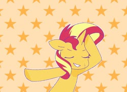 Size: 1100x800 | Tagged: safe, artist:ch-chau, sunset shimmer, pony, unicorn, abstract background, anime, dancing, eyes closed, female, floppy ears, keep your hands off eizouken, mare, parody, smiling, solo, starry background, underhoof