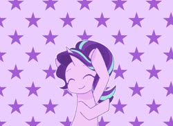 Size: 1100x800 | Tagged: safe, artist:ch-chau, starlight glimmer, pony, unicorn, abstract background, anime, dancing, eyes closed, female, keep your hands off eizouken, mare, parody, smiling, solo, starry background