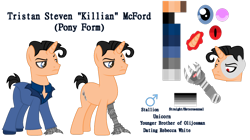 Size: 1024x572 | Tagged: safe, artist:budgie--boye, artist:clawort-animations, pony, amputee, base used, killian, ponified, pride, pride flag, prosthetic limb, prosthetics, reference sheet, simple background, spies in disguise, straight pride flag, transparent background