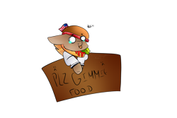 Size: 1280x854 | Tagged: safe, artist:snowflakecrystalyt, oc, oc only, oc:patty (ice1517), earth pony, pony, :c, american flag, bleh, burger, clothes, commission, crying, female, flag, food, freckles, frown, hat, jersey, ketchup, lettuce, mare, sad, sauce, sign, simple background, solo, tomato, tongue out, transparent background