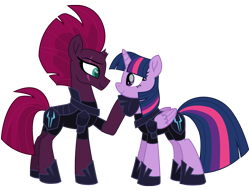 Size: 12560x9574 | Tagged: safe, artist:ejlightning007arts, tempest shadow, twilight sparkle, alicorn, pony, unicorn, my little pony: the movie, absurd resolution, armor, broken horn, evil, eye scar, fallen hero, female, fixed, fixed image, hoof on chin, hoof shoes, horn, lesbian, mare, raised hoof, scar, shipping, simple background, storm army, tempestlight, traitor sparkle, transparent background, twilight sparkle (alicorn), updated, vector