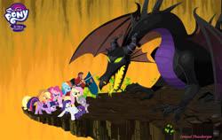 Size: 1990x1259 | Tagged: safe, applejack, fluttershy, pinkie pie, rainbow dash, rarity, spike, twilight sparkle, alicorn, dragon, earth pony, human, pegasus, pony, unicorn, disney, disney crossover, fanfic, fanfiction idea, maleficent, mane seven, mane six, prince philippe, prince phillip, sleeping beauty, twilight sparkle (alicorn)
