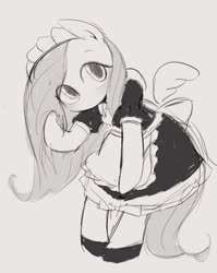 Size: 816x1024 | Tagged: safe, artist:manachaaaaaaaa, fluttershy, pegasus, pony, bipedal, clothes, cute, dress, female, fluttermaid, grayscale, maid, mare, monochrome, pixiv, shyabetes, solo