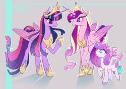 Size: 1280x905 | Tagged: safe, artist:bunniiibabe, princess cadance, princess flurry heart, twilight sparkle, alicorn, pony, spoiler:s09e26, crown, female, gray background, heart eyes, hoof shoes, jewelry, mare, no pupils, older, older flurry heart, older princess cadance, peytral, princess twilight 2.0, raised hoof, regalia, signature, simple background, trio, twilight sparkle (alicorn), ultimate twilight, wingding eyes
