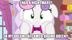 Size: 888x499   Tagged: safe, edit, edited screencap, screencap, sweetie belle, for whom the sweetie belle toils, caption, drama queen, faic, floppy ears, image macro, meme, screamie belle, screaming, solo, text