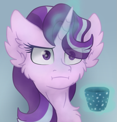 Size: 605x633 | Tagged: safe, artist:brendalobinha, starlight glimmer, pony, unicorn, :i, blue background, bust, cheek fluff, chest fluff, ear fluff, empathy cocoa, eye clipping through hair, female, glowing horn, horn, i mean i see, magic, mare, maximum overfloof, mug, portrait, simple background, solo, telekinesis