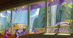 Size: 3500x1800   Tagged: safe, artist:emeraldgalaxy, applejack, fluttershy, pinkie pie, princess celestia, princess luna, rainbow dash, rarity, twilight sparkle, alicorn, earth pony, pegasus, pony, unicorn, the last problem, spoiler:s09e26, airship, clothes, coronation dress, crown, dress, female, jewelry, mane six, mare, mountain, regalia, royal sisters, second coronation dress, twilight sparkle (alicorn), waterfall, zeppelin