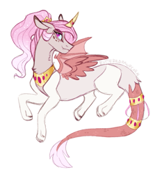 Size: 659x707 | Tagged: safe, artist:butteredpawpcorn, oc, oc:sunglight harmony, draconequus, hybrid, curved horn, female, horn, horn ring, interspecies offspring, jewelry, mare, next generation, offspring, parent:discord, parent:princess celestia, parents:dislestia, simple background, solo, tail ring, white background