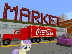 Size: 2048x1536 | Tagged: safe, edit, editor:topsangtheman, alula, pegasus, pony, barely pony related, building, car, coca-cola, cute, game screencap, market, minecraft, photoshop, shocked, truck