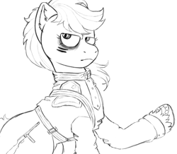 Size: 1089x951 | Tagged: safe, artist:anonymous, artist:happyartfag, earth pony, gun pony, pony, /mlp/, 4chan, clothes, cyrillic, drawthread, looking at you, monochrome, ponified, ppsh-41, russian, solo, uniform