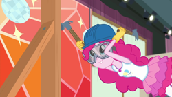 Size: 1920x1080 | Tagged: safe, screencap, pinkie pie, constructive criticism, equestria girls, spoiler:eqg series, clothes, constructive criticism: pinkie pie, cute, diapinkes, female, geode of sugar bombs, gloves, goggles, hammer, hard hat, magical geodes, safety goggles, smiling, solo