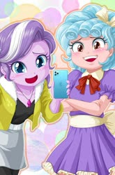 Size: 559x849 | Tagged: safe, artist:uotapo, edit, cozy glow, diamond tiara, equestria girls, cozybetes, cropped, cute, diamondbetes, duo, equestria girls-ified, iphone, pure concentrated unfiltered evil of the utmost potency, pure unfiltered evil
