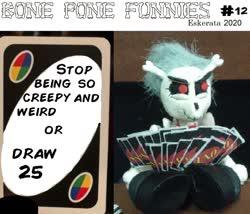Size: 1172x1004 | Tagged: safe, artist:eskerata, skellinore, pony, skeleton pony, the break up breakdown, spoiler:s08e10, bone, bone pone funnies, card, cartoon, draw 25, meme, skeleton, uno