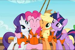 Size: 1412x942 | Tagged: safe, screencap, applejack, pinkie pie, rarity, twilight sparkle, alicorn, earth pony, pony, unicorn, ppov, :o, cheek squish, cropped, cute, diapinkes, female, group, group hug, hat, hug, jackabetes, lifejacket, open mouth, raribetes, squishy cheeks, twiabetes, twilight sparkle (alicorn)