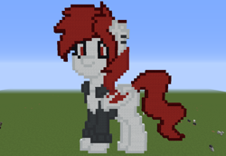 Size: 1024x705 | Tagged: safe, artist:artsy46, oc, oc:artsy, bat pony, pony, bat pony oc, clothes, female, grass, grass field, mare, minecraft, minecraft pixel art, photo, pixel art