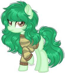 Size: 1212x1380 | Tagged: safe, artist:fantarianna, wallflower blush, earth pony, pony, clothes, equestria girls ponified, female, looking at you, mare, ponified, simple background, solo, sweater, transparent background