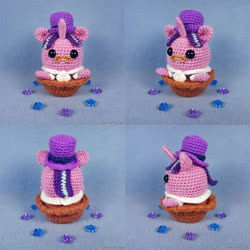 Size: 1000x1000 | Tagged: safe, artist:facja, snowfall frost, starlight glimmer, pony, unicorn, amigurumi, clothes, crochet, hat, irl, photo, plushie, top hat, traditional art