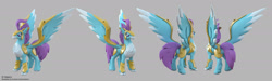 Size: 1920x578 | Tagged: safe, artist:andrew hickinbottom, stratus skyranger, hippogriff, my little pony: the movie, 3d, 3ds max, multeity, official, part of a set, simple background, solo