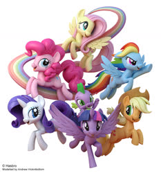 Size: 1300x1397 | Tagged: safe, artist:andrew hickinbottom, applejack, fluttershy, pinkie pie, rainbow dash, rarity, spike, twilight sparkle, alicorn, dragon, earth pony, pegasus, pony, unicorn, my little pony: the movie, 3d, 3ds max, cowboy hat, female, flying, hat, male, mane seven, mane six, mare, official, pose, rainbow, rainbow tail, simple background, twilight sparkle (alicorn), white background