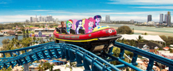 Size: 2000x830 | Tagged: photographer needed, safe, derpibooru exclusive, applejack, fluttershy, pinkie pie, rainbow dash, rarity, twilight sparkle, equestria girls, australia, boat, equestria girls in real life, gold coast, humane five, humane six, roller coaster, sea world, spongebob squarepants, the ride never ends